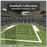 3D Model - Football Collection Horseshoe Stadium 3 Tier