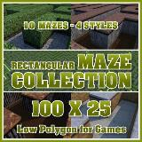 3D Model - 100x25 Rectangular Maze Collection
